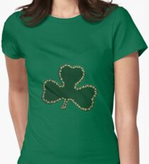 Saint Patrick's Day, Four Leaf Clovers - Green Womens Fitted T-Shirt