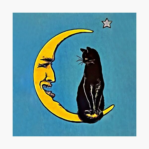 Black Cat & The Moon Photographic Print