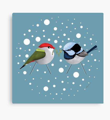 Christmas Finch and Wren Canvas Print