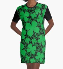 A Shamrock Field for St Patrick's Day Graphic T-Shirt Dress