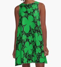 A Shamrock Field for St Patrick's Day A-Line Dress