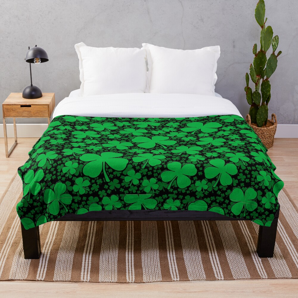A Shamrock Field for St Patrick's Day Throw Blanket