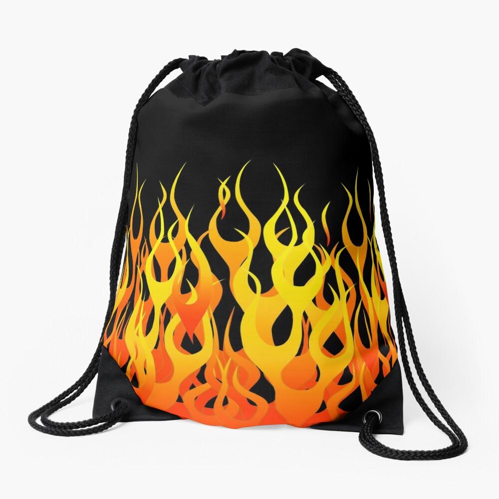 Racing Flames Drawstring Bag