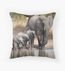Elephant Mom and Babies Throw Pillow