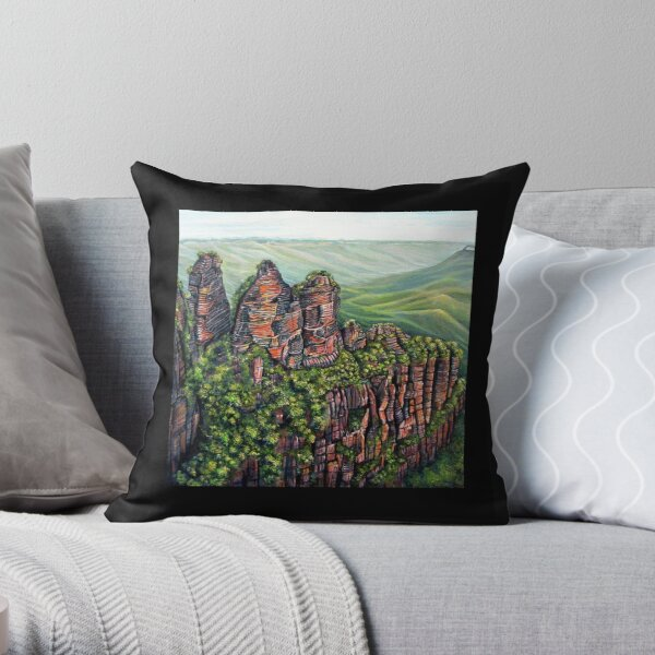 Etched in Time, Blue Mountains Throw Pillow