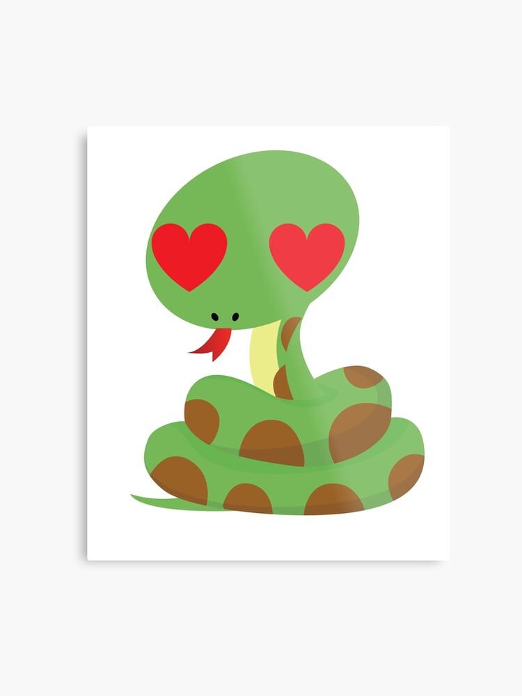 Snake Emoji Metal Print By Hippoemo Redbubble
