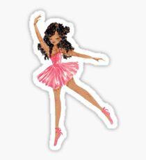 Schwarze Ballerina im rosa Tutu Sticker
