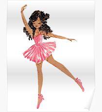 Schwarze Ballerina im rosa Tutu Poster