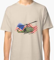 Huey helicopter with American flag Classic T-Shirt