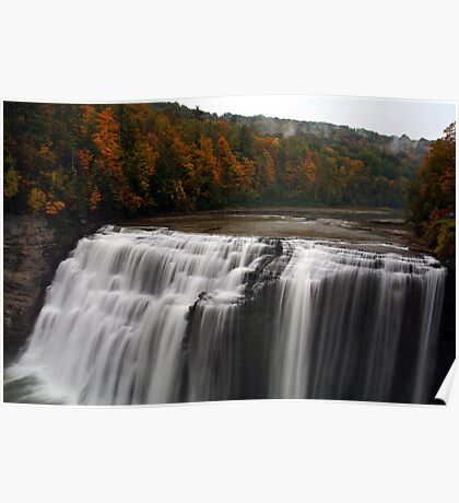 Middle Waterfalls With Fall Colors Poster
