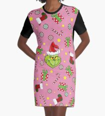 Grinch pattern Graphic T-Shirt Dress