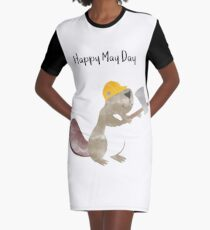Happy May Day - Labor Day Graphic T-Shirt Dress