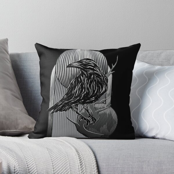 the crow Throw Pillow