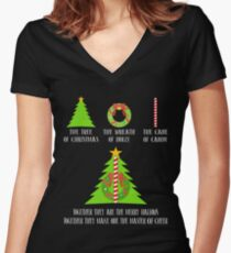 The Tree Of Christmas Merry Hallows One Of Master Of Cheer T-Shirt Sweatshirt & Hoodie Women's Fitted V-Neck T-Shirt