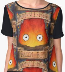 Studio Ghilbi Illustration: CALCIFER #3 Women's Chiffon Top