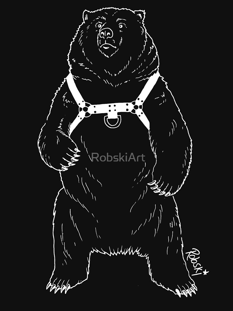 Leather Bear - White lines by RobskiArt