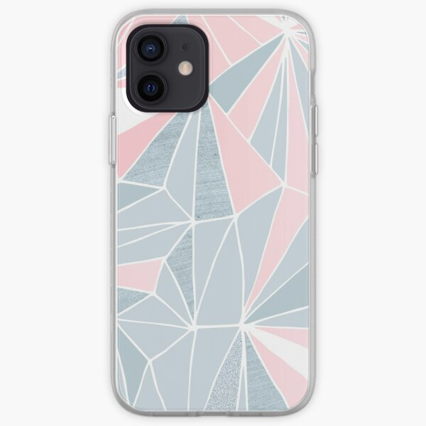 Cool blue/grey and pink Geometric Prism Pattern  iPhone Soft Case