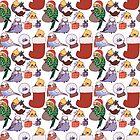 Christmas Budgies & Cockatiels by EllenorMererid