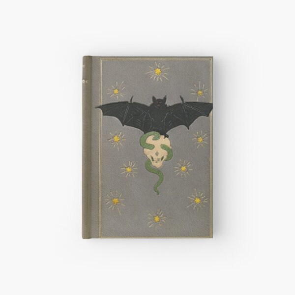 'The Eerie Book' antique cover with bat, skull & spider Hardcover Journal