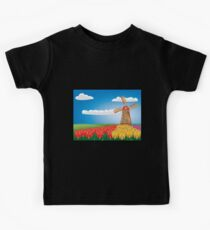 Windmill and tulips Kids Tee