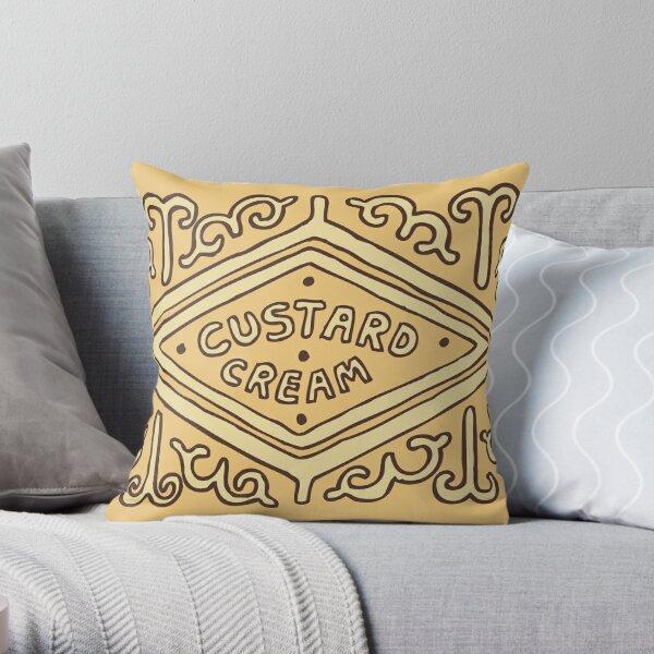 Custard Cream British Biscuit Throw Pillow