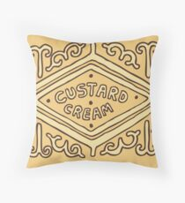 Custard Cream British Biscuit Throw Pillow