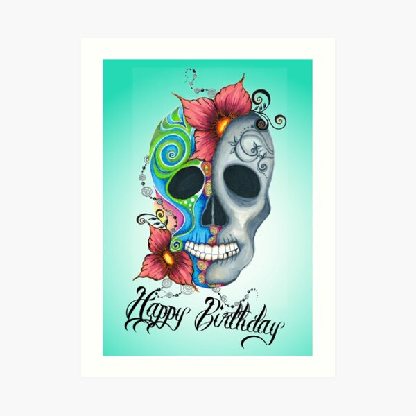 Happy Birthday Skully Kunstdruck