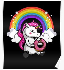 Magical Unicorn Eating Donut Rainbow Party Poster