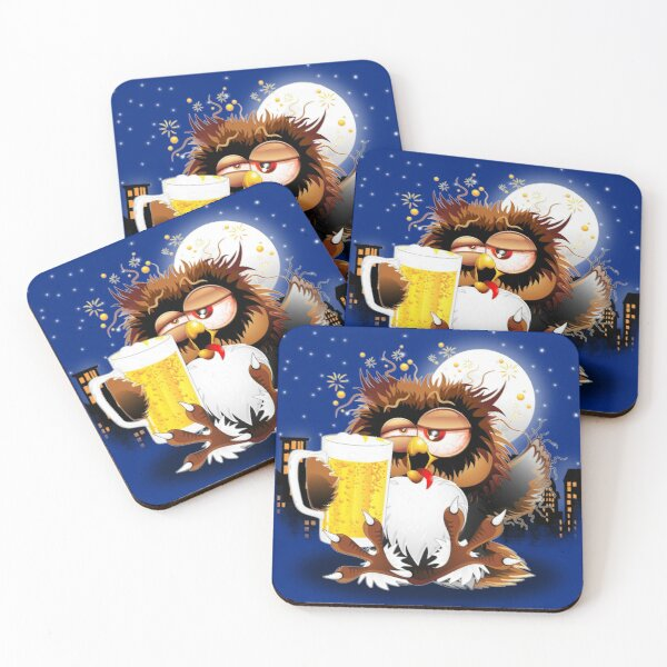 Drunk Owl with Beer Funny Character Coasters (Set of 4)