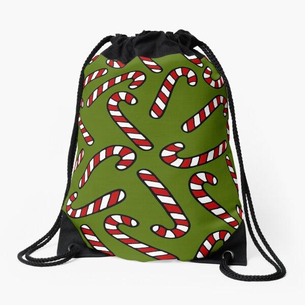 Candy Cane Pattern Drawstring Bag