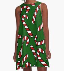 Candy Cane Pattern Dark Green A-Line Dress