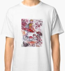 MAGIC FOLLET OF MUSHROOMS Whire Red Floral Fantasy Classic T-Shirt