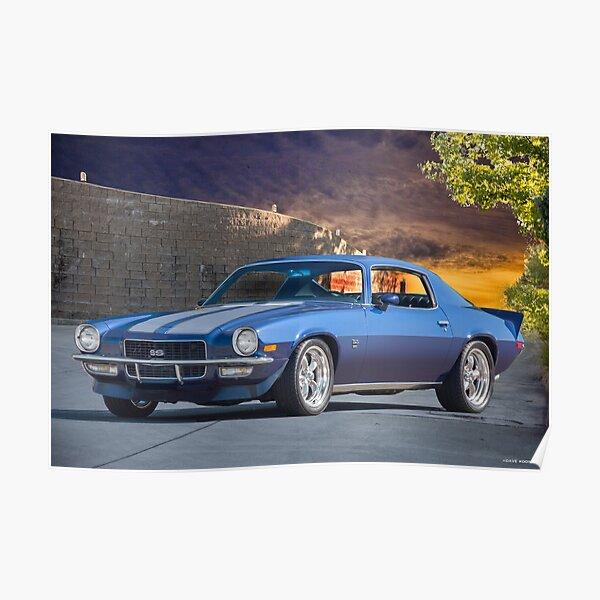 Camaro wall art Man cave decor Camaro 1970s Chevrolet Camaro 2nd gen 1970 Poster Blue