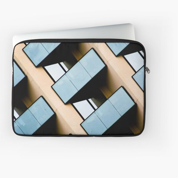 Blue and Beige Rectangles and Reflection Abstract Building Architecture Photograph Laptop Sleeve