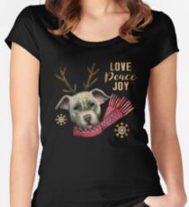 Christmas Reindeer Pit Bull with Faux Gold Snowflakes Women's Fitted Scoop T-Shirt