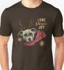 Christmas Reindeer Pit Bull with Faux Gold Snowflakes T-Shirt