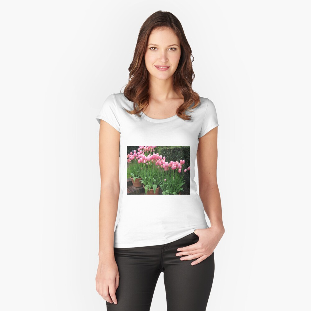Pink Tulips Women's Fitted Scoop T-Shirt Front
