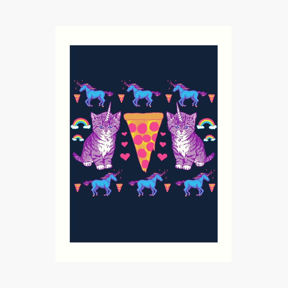 Kittycorn Pizza-Regenbogen Kunstdruck