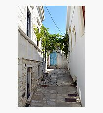 Old Greek village with stairs and white architecture  Photographic Print