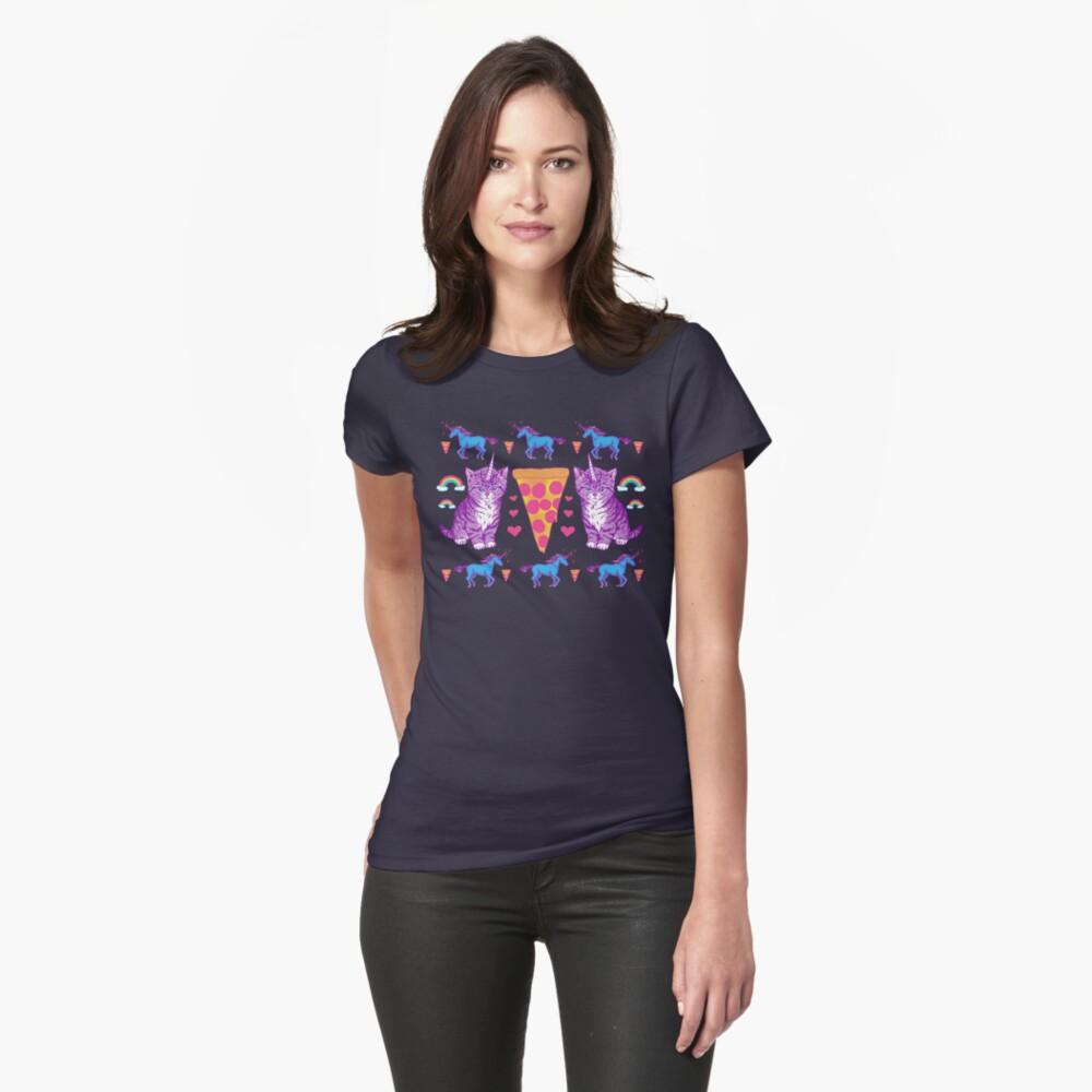 Kittycorn Pizza-Regenbogen Tailliertes T-Shirt