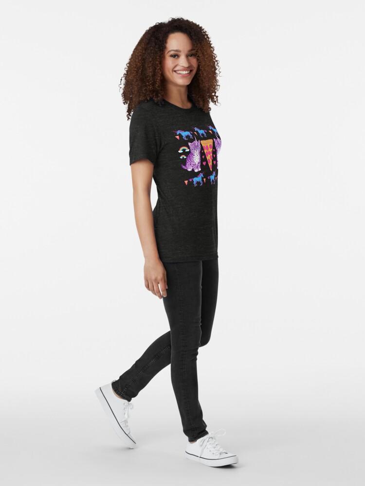 Alternative Ansicht von Kittycorn Pizza-Regenbogen Vintage T-Shirt