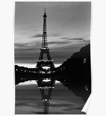 France Paris Eiffel tower reflection 1970 Poster