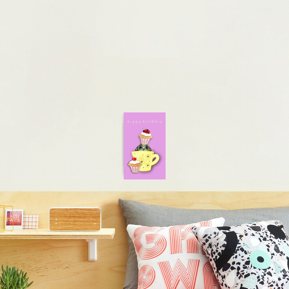 Happy Birthday Bird in a Teacup Photographic Print