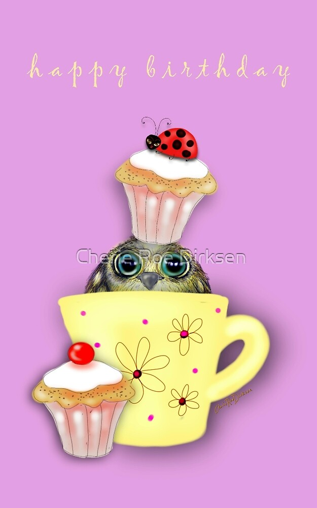 Happy Birthday Bird in a Teacup by Cherie Roe Dirksen