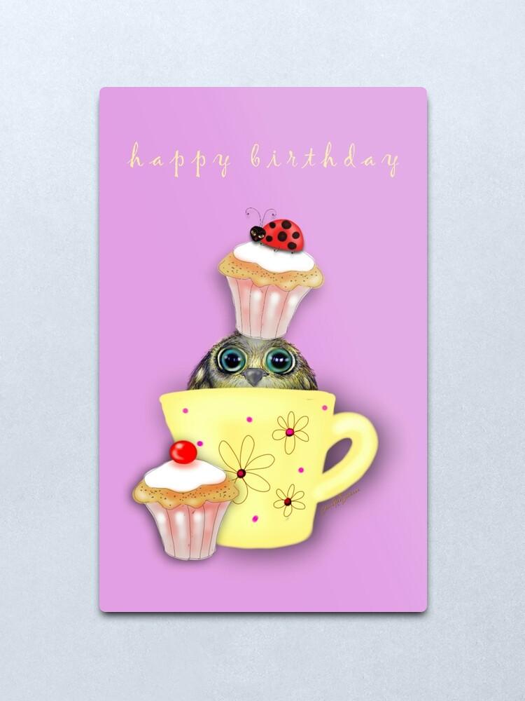 Alternate view of Happy Birthday Bird in a Teacup Metal Print