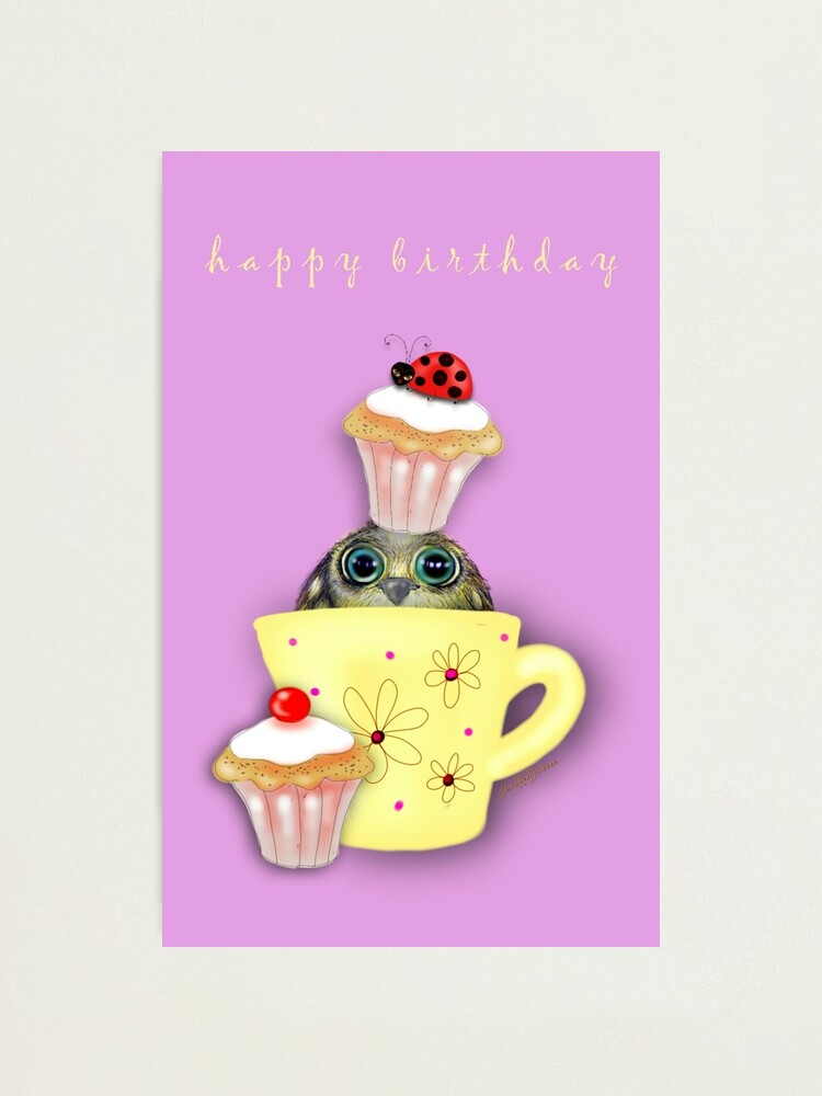 Alternate view of Happy Birthday Bird in a Teacup Photographic Print