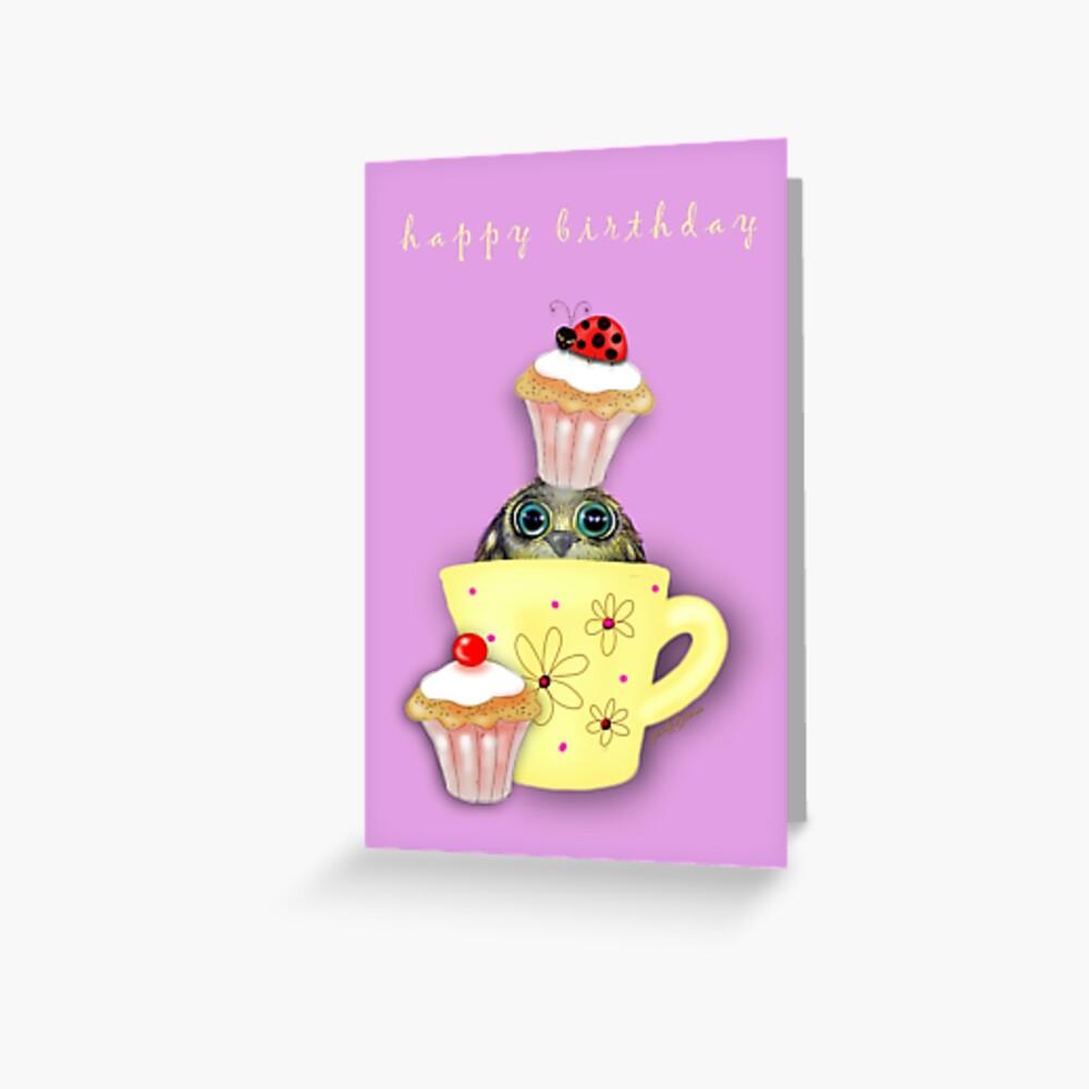 Happy Birthday Bird in a Teacup Greeting Card