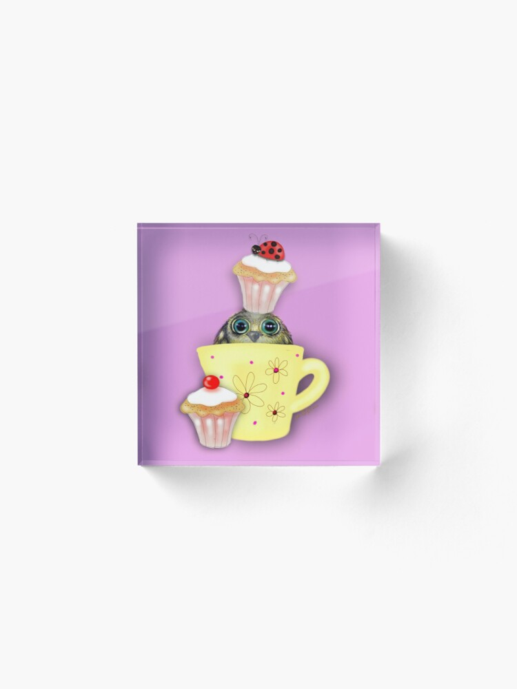 Alternate view of Happy Birthday Bird in a Teacup Acrylic Block