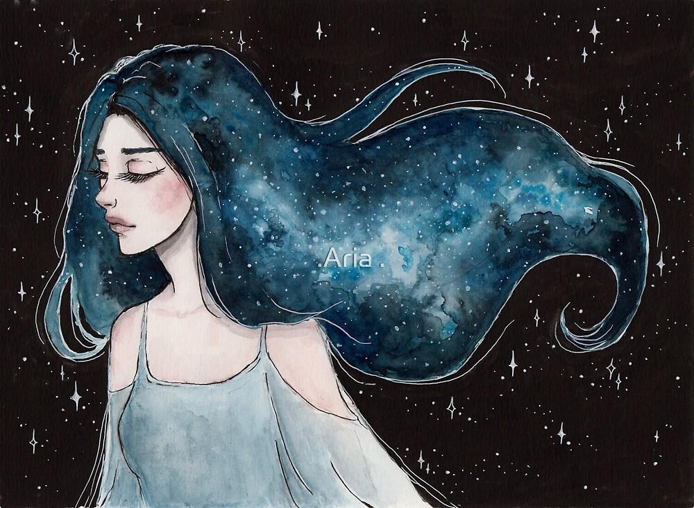 Milky way- Galaxy hair series 4/4 by ARiAillustr