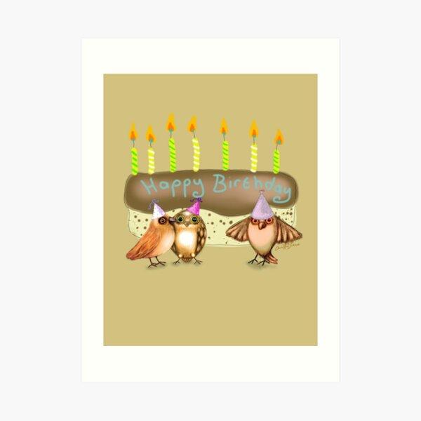 Happy Birthday Birds with Cake Art Print